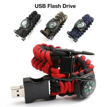 New Compass Braided Rope Bracelet USB Flash Drive Portable Pendrive 16GB 32GB 64GB