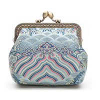Chinese style Coin Purse Women Lady Retro Vintage Silk Brocade Small Wallet Hasp Printing sea wave Clutch Bag Good Gift