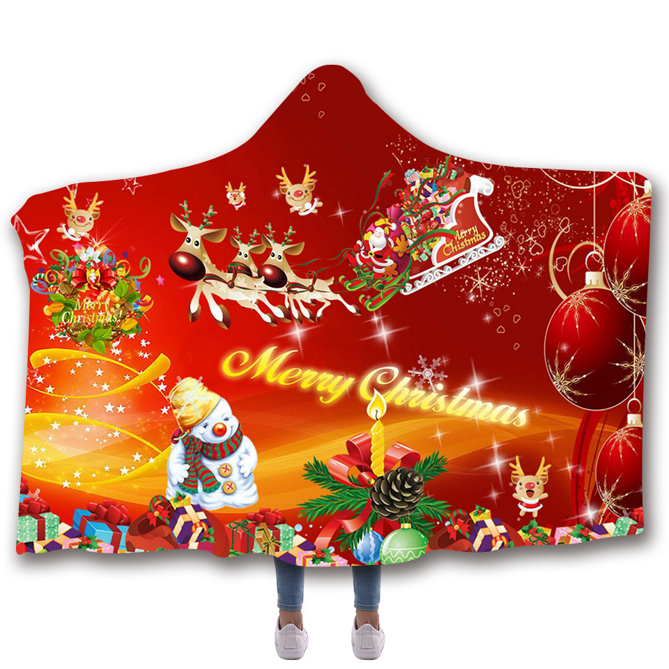 Christmas Hooded Blanket For Adults Childs 3D Printed Soft Fleece Blanket For Bed Wearable Warm Throw Blanket For Home Travel in Blankets from Home Garden