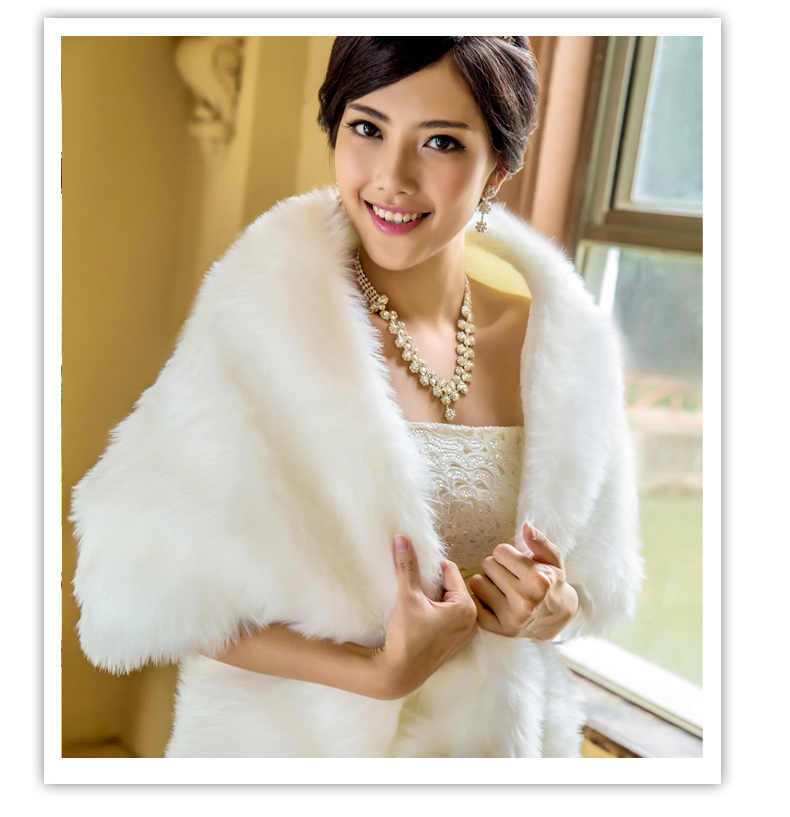 2020 Elegant White Bridal Jackets Wedding Wrap Women Winter Warm Faux Fur Shawl 45*155cm