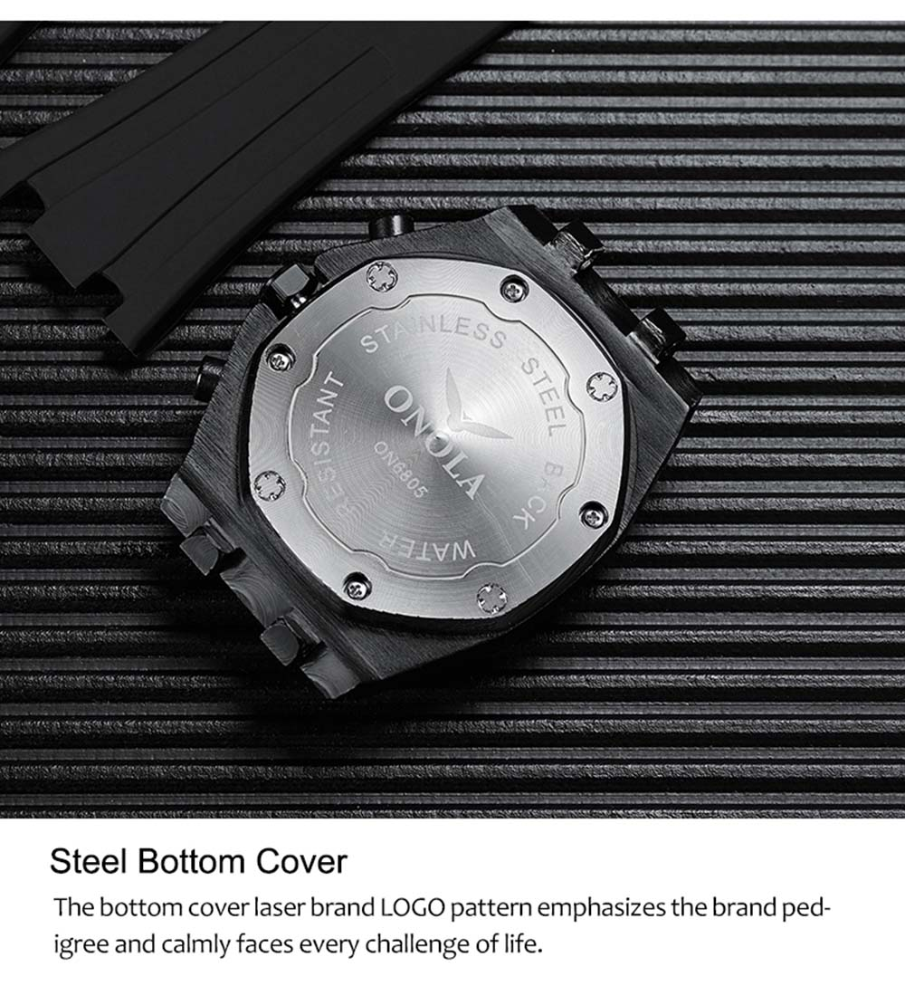ONOLA brand fashion casual quartz mens watch chronograph Multifunction wristwatch all black gold metal waterproof watch for men