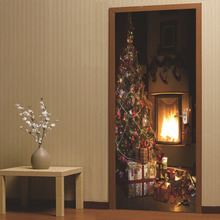 Christmas Tree Wall Stickers Decoration Sticker Door Stickers Wallpaper Festive Atmosphere Wall Papers Home Decor sparkling christmas tree pattern door art stickers