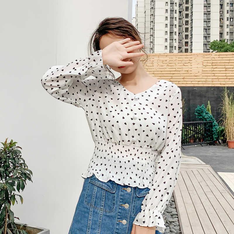 סתיו קוריאני אופנה שיפון נשים חולצות הדפסת נשים חולצות וחולצות בתוספת גודל XXL ארוך שרוול לבן נשים חולצות