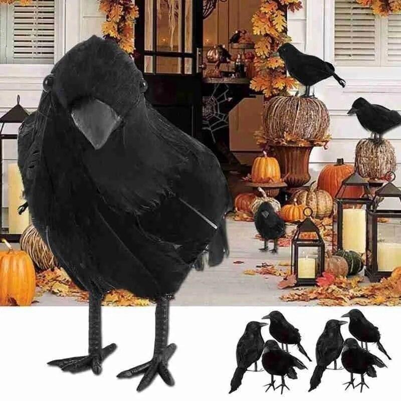 1Pc Halloween Zwarte Kraai Model Simulatie Nep Vogel Dier Eng Speelgoed Voor Halloween Party Home Decoratie Horror Props