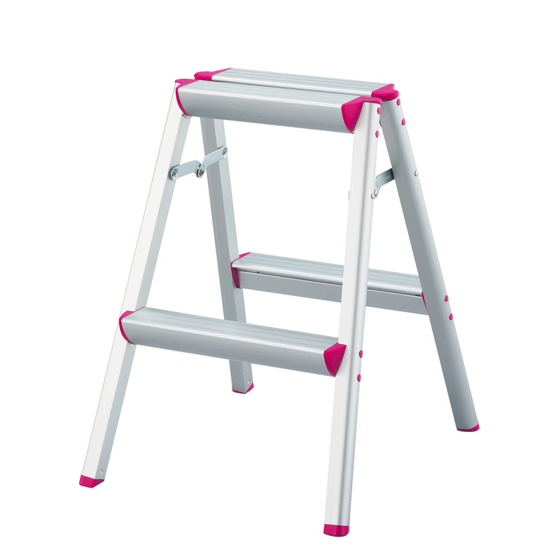 HASEGAWA Step Ladder Double Sided Multi Purpose Lightweight Aluminium Anti Slip Feet Foldable Design Ideal For Home/Kitchen Pink