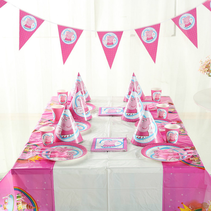 9pcs Peppa Pig Birthday Party Sets Anime Figure Party Decoration Supplies Holiday Cup Plate Spoon Activity Event Kids Gifts 2P16