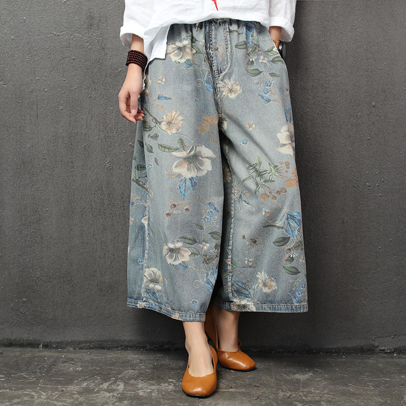 Woman Plus Size Wide Leg Pants 2019 Summer Female Elastic High Waist Floral Print Vintage Casual Loose Jeans Ankle-length Pants