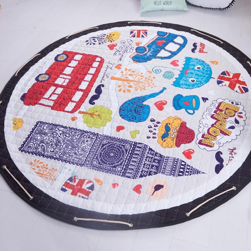Hf119c27e67e8485cbebb980b399c8212V Kid Soft Carpet Rugs Cartoon Animals Fox Baby Play Mats Child Crawling Blanket Carpet Toys Storage Bag Kids Room Decoration