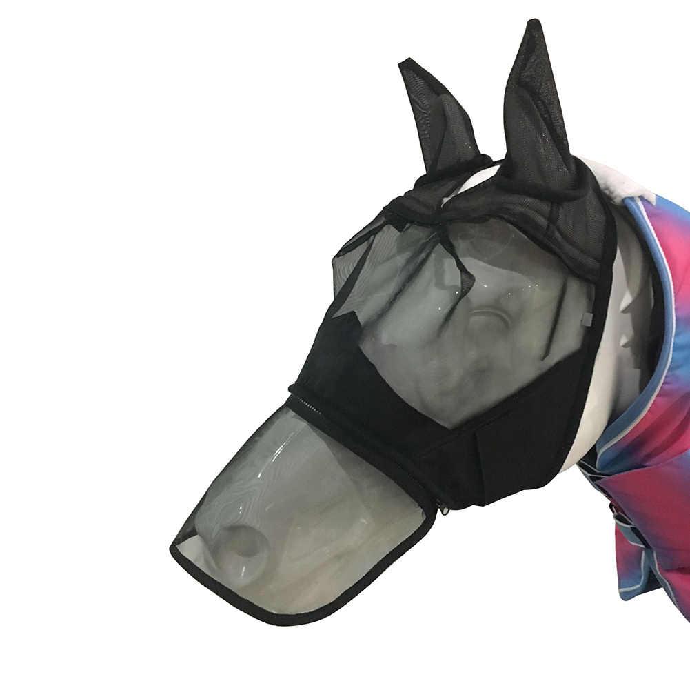 Anti UV kalkan fermuarlı evcil hayvan malzemeleri yaz konfor burun kapak at koruyucu Mesh sinek maskesi nefes Anti sivrisinek tam yüz
