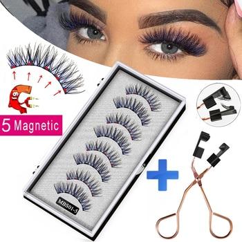 2021 4 pairs 5 Magnet Magnetic False Eyelashes 3D Lasting Magnetic Eyelashes Natural Artificial Mink lashes Faux Cils Magnetique 1