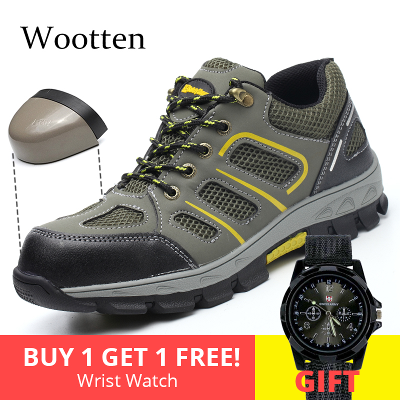 plus size men safety shoes leather cap toe steel Construction Outdoor Breathable stab-resistant indestructible work shoes #YN805