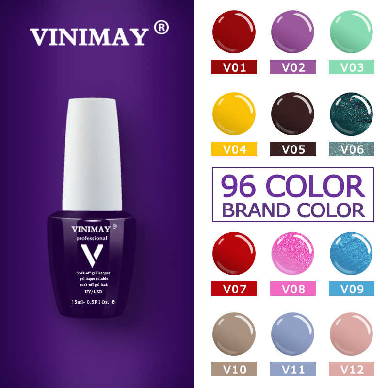 Gel Unha Polonês VINIMAY NOVO 96 Cor Gelpolish Gel Enverniza Gellak Verniz Cartilha Conjunto opies Soak Off Gel UV Polonês Nail Art 15ML