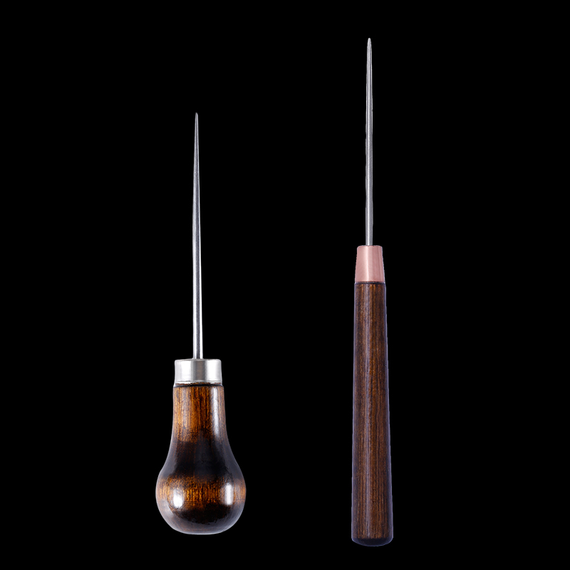 MIUSIE Professional Leather Wood Handle Awl Tools For Stitching Punch wood drill positioning single gourd handle awl Leather(China)