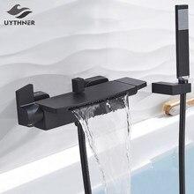 Kran do łazienki z wanną pojedynczy uchwyt wodospad wylewka bateria z rączka prysznica ścienny kran do wanny bateria do wanny mieszacz wody