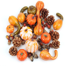 50Pcs/Set Halloween Simulation Golden Autumn Pumpkin Mini Thanksgiving Decoration Fake Gourds Maple Leaves Oak Trees Pine Cones(China)