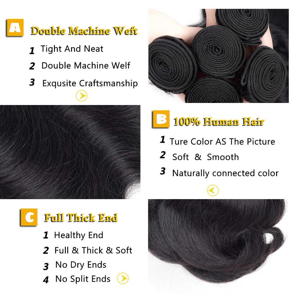 Uneed brezilyalı vücut dalga saç ekleme % 100% Remy insan saçı örgüsü demetleri doğal renk ücretsiz gönderim satın 3 veya 4 demetleri vücut