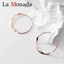 2019 Minimalist Genuine 925 Sterling Silver Rose Waves Round Large Hoop Earrings For Fashion Womens Wedding Jewelry Gift