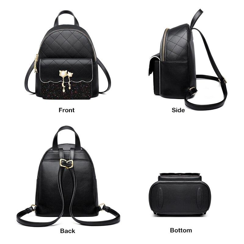 Foxer Lattisy Women Soft Backpack Split Leather Black
