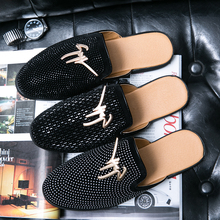Luxury Summer New Cool Slippers for Male Gold Black Loafers Men Half Shoes Anti-slip Men Casual Shoes Flats Slippers Mules 2020 summer cool rhinestones slippers for male gold black loafers half slippers anti slip men casual shoes flats slippers wolf