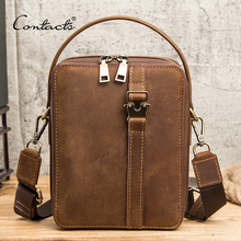 CONTACT'S Quality Male Casual Messenger Bag Crazy Horse Leat