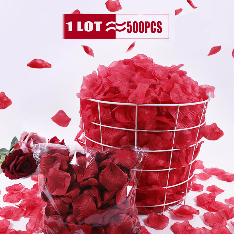 500Pcs/Lot 5*5cm Silk Rose Petals Gold Red 14 Colors Wedding Petale De Rose Mariage Romantic Artificial Rose Flower Petals