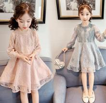 Girls dresses 2020 new children #8217 s belt dresses little girls lace princess dresses cheap MINISED Voile Knee-Length O-neck REGULAR Full Novelty Fits true to size take your normal size PATTERN Solid A-Line