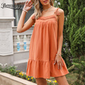 Benuynffy V-neck Lace Patchwork Tassel Cami Dress Women Summer Sleeveless Loose Casual Female Ruffle Hem Solid Mini Dress 2021