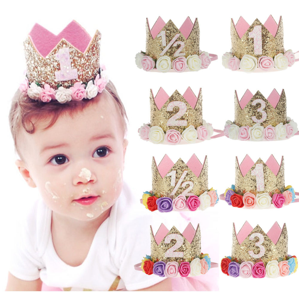 1pcs 1/2 1 2 3 One Crown Birthday Cap Flower Garland Headwear Kids Birthday Hat For 1 2 3 Year Birthday Party Decorations 83D