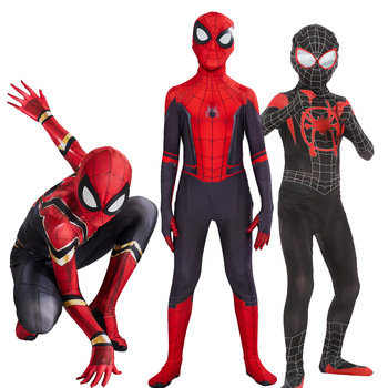High Quality spider boy Costume Fancy Dress Adult And kid man Halloween Red Black Spandex 3D Cosplay Clothing