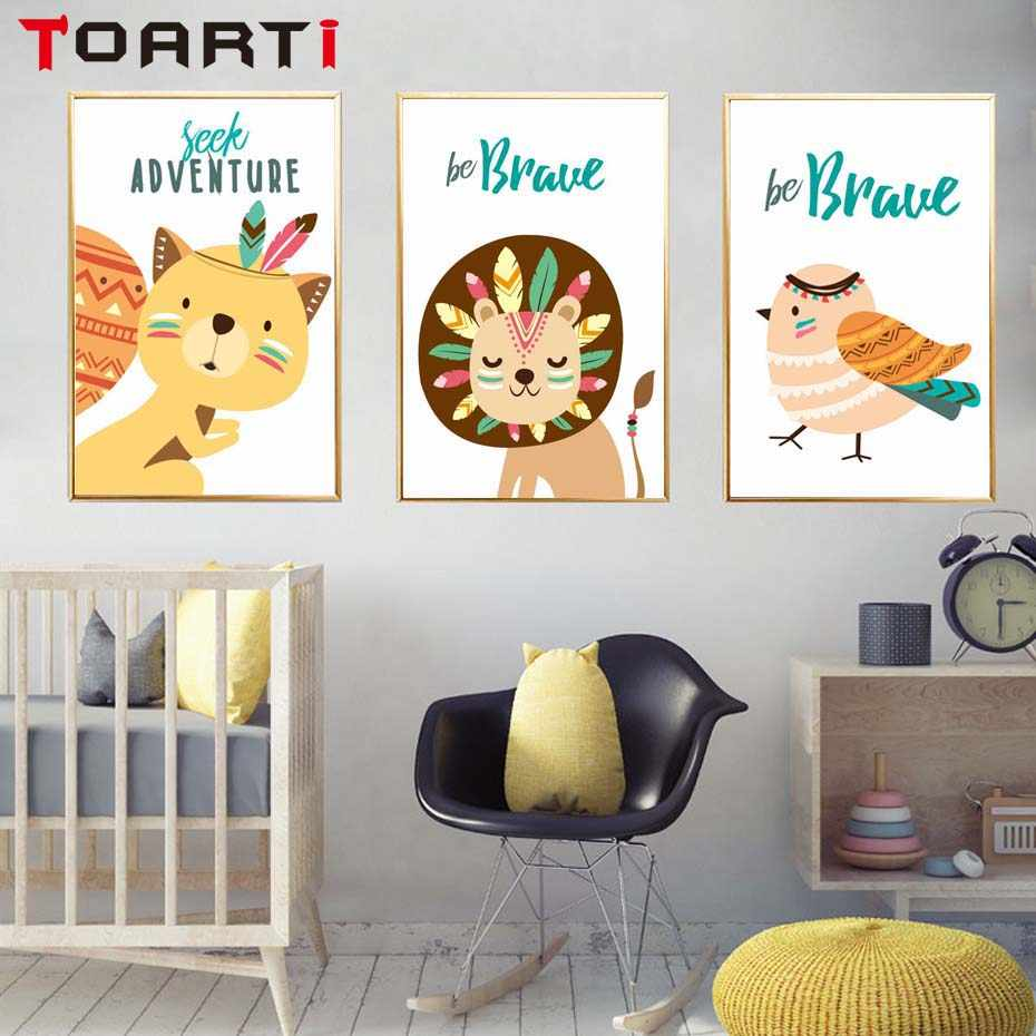 Modern Kawaii Animals Baby Dream Quotes Canvas Painting For Kids Room Nursery Wall Art Print Poster Decor No Frame