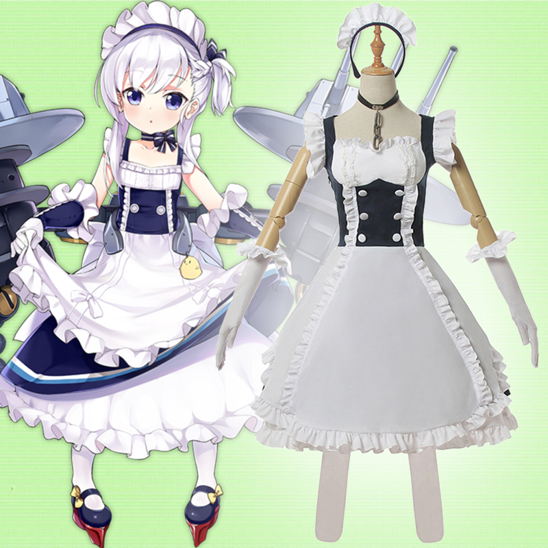 Game Azur Lane Cosplay Costumes HMS Belfast Cosplay Costume Dresses maid outfit apron dress Clothes Suits Anime Comic Wears