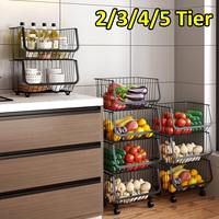Kitchen Metal Dish Racks Holders Vegetable Fruit Storage Basket Home Floor Multi layer Kitchen Storage Organization With Wheels