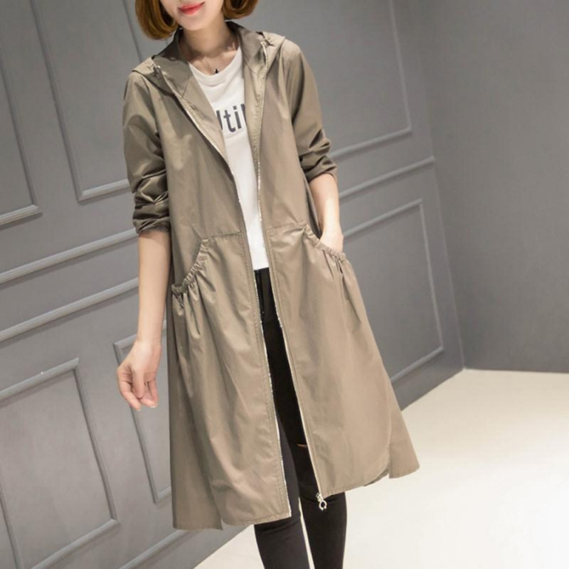 3 Colors Fashion Hooded Business Women's Coat Autumn Classic Long Trench Coat Solid Color Female Casual Thin Windbreaker