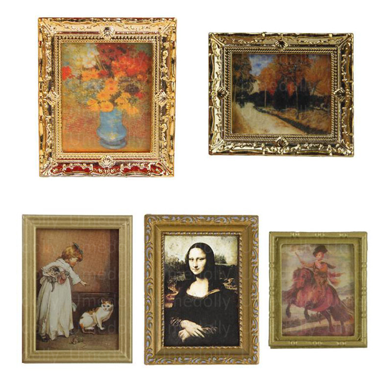 3 Pcs Metal Mini Picture In Photo Frame For Doll House Miniature Wall Mural