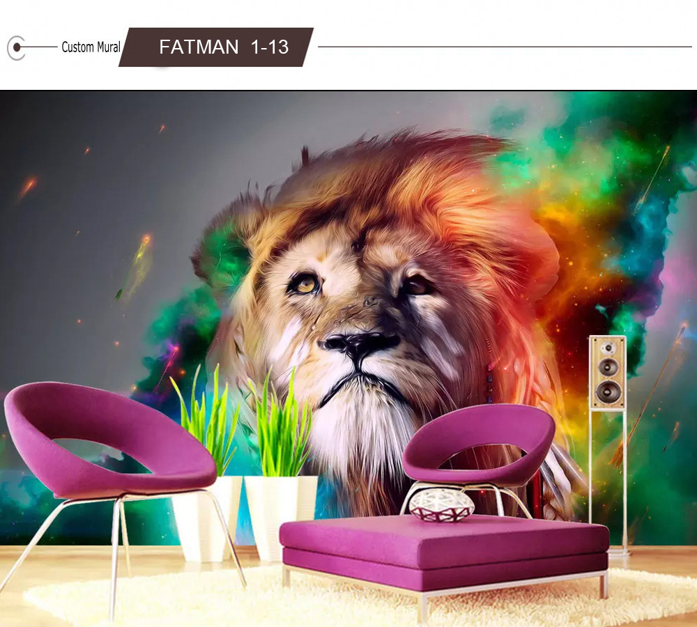 xbwy Custom Wallpaper Hd 3D Domineering Lion Animal Photography Tv Backdrop Wall Large Mural Living Room Backdrop Animal Wall Paper-200X140Cm
