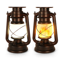 2pcs Retro Kerosene Portable Lantern Battery Powered LED Table Lamp with Remote Control 2 Modes Camping Tent Garden Hanging Deco
