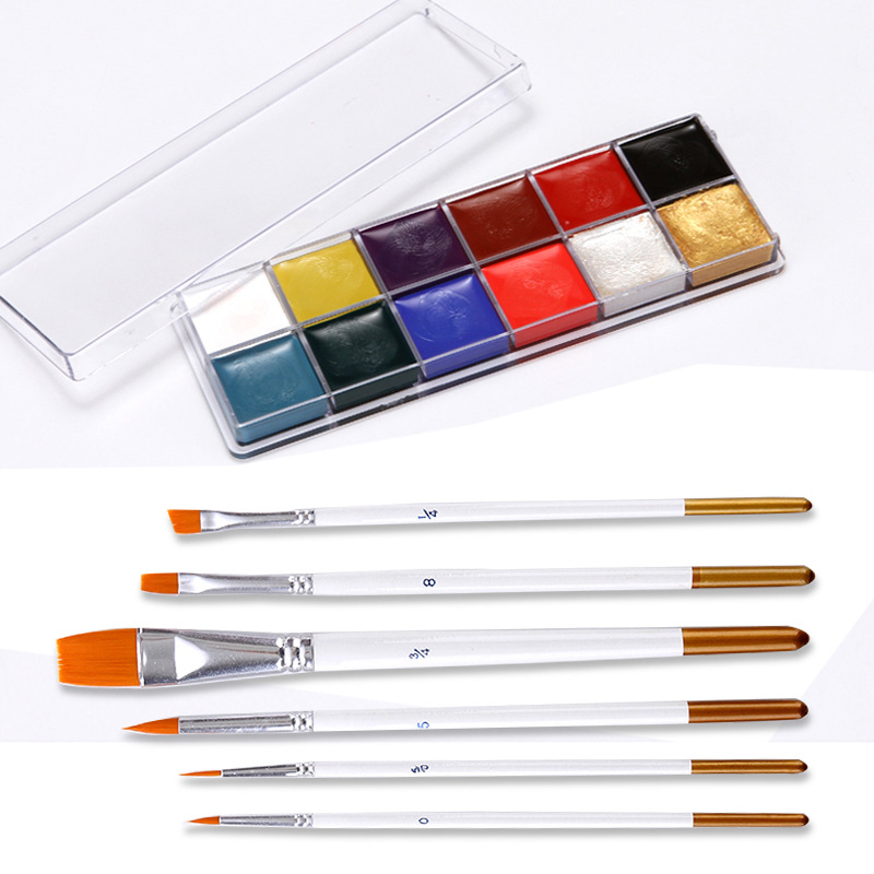 12 Colors/set Flash Tattoo Face Body Paint Oil Painting Pigment Art Theme Party Halloween Fancy Dress Party Make Up Tool