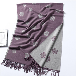 Image 4 - Brand Designer Winter Scarf for Women Classic Floral Print Shawls and Wrap Thick Warm Pashmina Fashion Tassels Cashmere Scarves