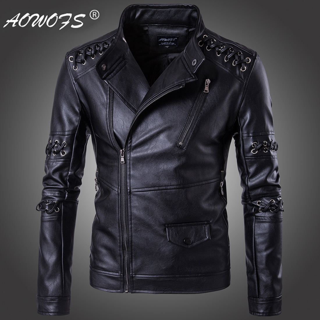 Fashion Ouma 2019 New Style Cool Braided Rope Stand Collar Men Locomotive Leather Coat MEN'S Leather Clothing Boutique D099