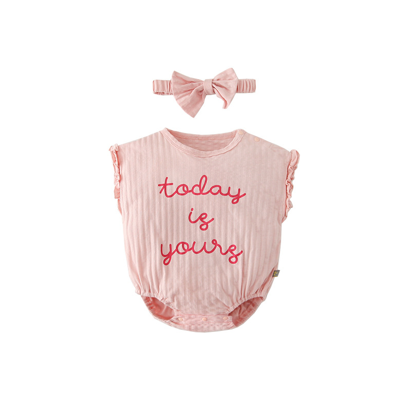 2020 Romper+Hair Hoop Summer Cotton Baby Girl Clothes Lace 3-18M One-Piece Short Sleeve Girls Clothing Sets 1