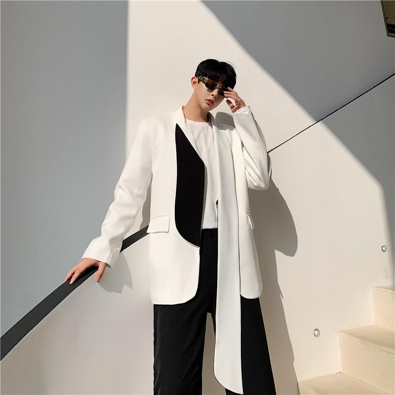 Men Women Fashion Show Casual Suit Coat Outerwear Male Street Black White Cardigan Blazer Jacket Overcoat