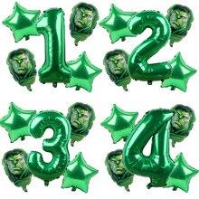 5 pçs vingadores hulk homem de ferro balões folha número verde festa inflável cabeça balão festa de aniversário decoração crianças brinquedos globos
