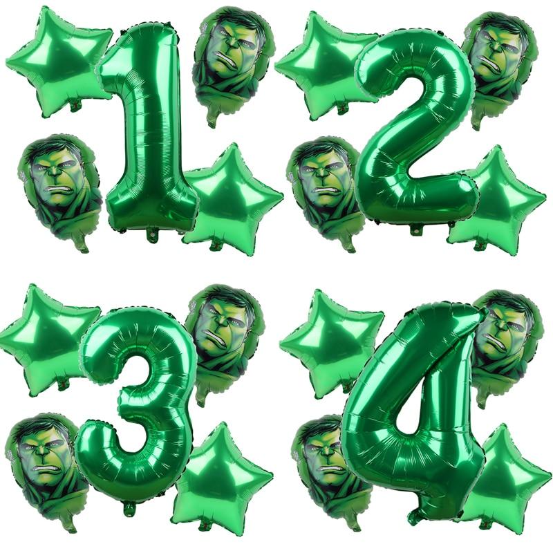 Balões de alumínio de vingadores, hulk, 5 peças, homem de ferro, números verdes, festa, decoração de festa de aniversário, crianças, brinquedos, globos