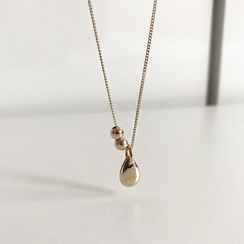 Silvology Sterling 925 Silver Water Drop Gold Bead Pendant Necklace For Women Chic Elegant Female Necklace Friendship Jewelry