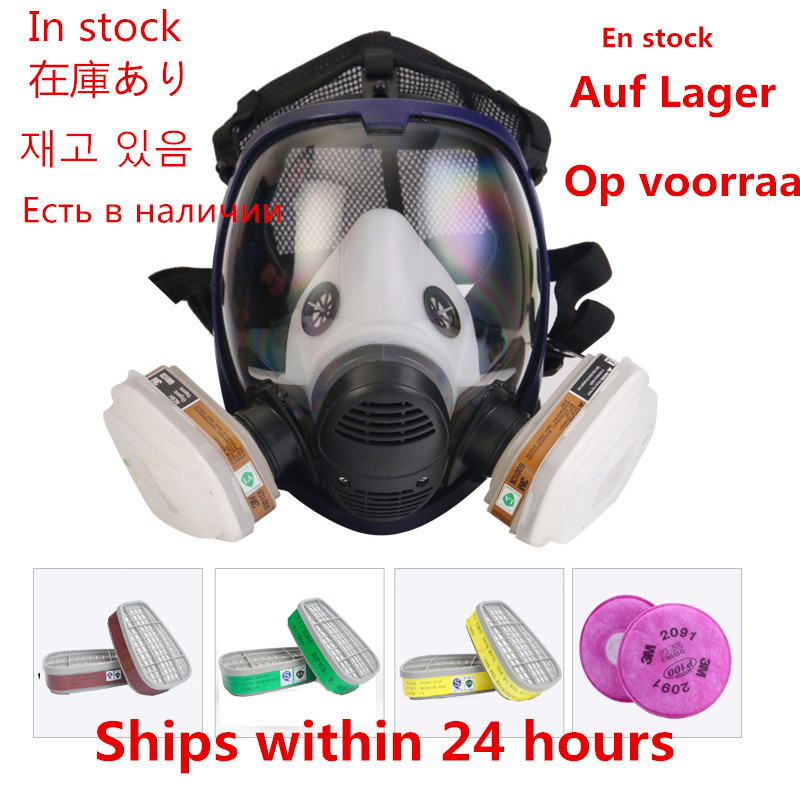 Chemical Mask 6800 15-In-1 Gas Mask Acid Dust Respirator Paint Pesticide Spray Laboratory Welding Silicone Full Protective Mask