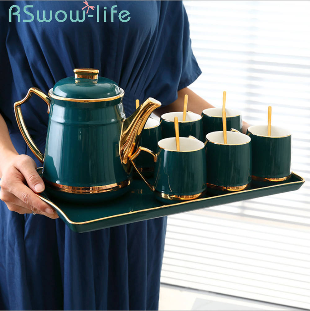 Ceramic Cup Cold Water Bottle Set Dark Green Glaze Water Bottle Sets 6 Cups +1 Kettle +1 Tray Tea Cup Set For Drinkware