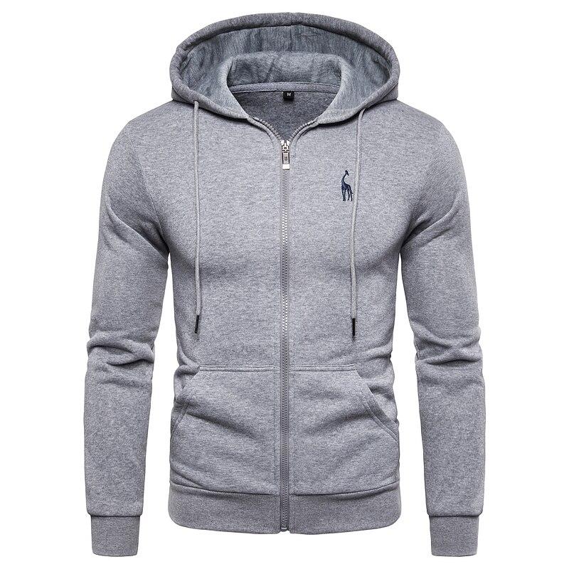 Zipper Sweatshirts Hoodied Men Sportswear Fleece Autumn Winter Solid New