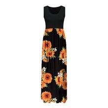2019 new Beach Tunic Slim Patchwork summer sexy Women Summer Boho Sleeveless Floral Print Tank Sundress Long Maxi Dress vestidos