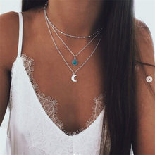New Bohemian Round Fashion Jewelry Silver Moon Three-layer Multi-layer Necklace on Neck Female for Women Girl