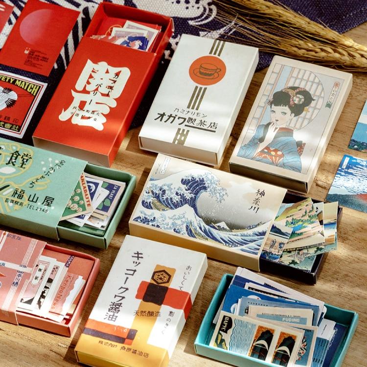 Japanese Retro Style Decorative Stickers Scrapbooking Matchbox Sticker Flakes Stationary Album Office Accessories Art Supplies